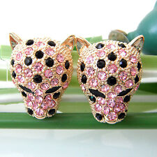 Navachi 18K GP Cheetah Leopard Head Pink Crystal Earrings Ear Stud BH2695