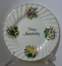 STAFFORDSHIRE FINE BONE CHINA HAPPY  ANNIVERSARY PLATE MINT IN GIFT BOXED APHA