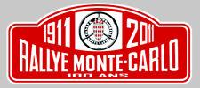 PLAQUE RALLYE MONTE-CARLO 100 ANS AUTOCOLLANT STICKER 150mmX65mm (RA029)