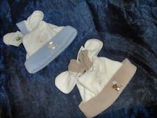2 PACK BABY BOY HAT & MITTS SETS  - BLUE and BEIGE