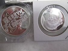 Merry Christmas Santa Claus 1 1/2 oz  .999 fine silver round coins