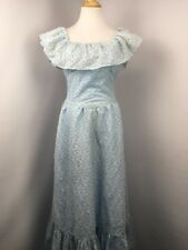 VtG 70's M/L floral eyelet lace dress Prairie PEASANT off shoulder collar ruffle