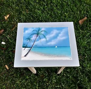 Palm trees on beach hand painted handcrafted table end night stand original art