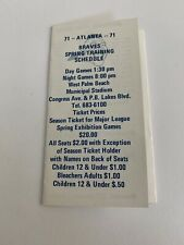 1971 Atlanta Braves / Montreal Expos SPRING TRAINING POCKET SCHEDULE Original