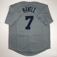 New MICKEY MANTLE New York Grey Custom Stitched Baseball Jersey Size Men's XL