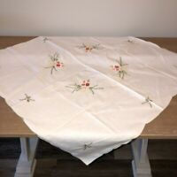 "Vintage Embroidered Christmas Tablecloth Topper 32"" Square Candles  Bells Holly"