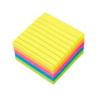 Block of 450 Neon Square Lined Sticky Notes 76mm List Note Memo Pad Pack Office