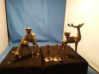 Vtg. Mid-Century Modern Christmas BRASS  -Candle Holder Reindeer.DEER FAMILY