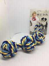 "Ellen Degeneres Pet Toy Dog Rope with 3 Balls 15"" Length"