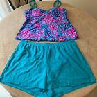 Beach Diva Womens Multicolor Abstract 2 Piece Swimming Suit Tankini Set Size 20W