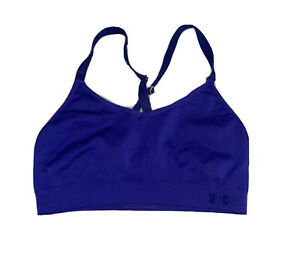 Under Armour Seamless Sports Bra Purple Criss Cross Back Womens Size Large