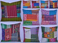 50 PC Wholesale Lot Cushion Cover Silk Kantha Stitched Pillow Cover Indian Decor