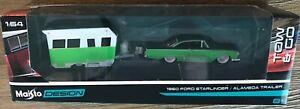 New Maisto Design Tow & Go 1960 Ford Starliner & Alameda Trailer 1/64