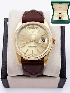Rolex President Day Date 18038 Champagne Dial 18K Yellow Gold Leather Band Box
