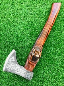 Hand forged Cold steel Viking Axe W/ Skull Engraved Handle Ash Wood Tactical Axe