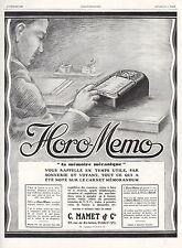 Publicité HORO MEMO Mamet & Cie CALCULATRICE OLD CALCULATOR  print ad 1928