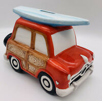 Surfers Beach Wood Panel Car Coin Piggy Bank Surfboard Hand Painted Fun Dude USA