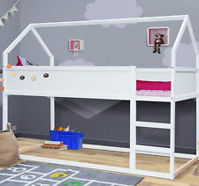 Hausbett Kinderbett Massiv Hochbett Spielbett Jugendbett 90x200Bett Weiß Huhn.