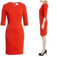 Hugo Boss Deazema Twill Jersey Women's Red Dress Office Formal NWT $695 D1