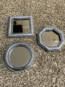 Set Of 3 Small Geometric Shaped Wall Mirrors (Circle, Square And Octagon) 6x6in