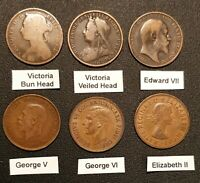 1860-1967 PENNIES 6 DIFFERENT PORTRAITS VICTORIA TO ELIZABETH II ONE OF EACH