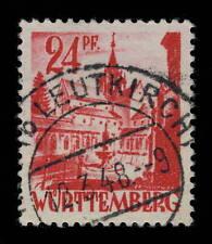 ALLEMAGNE FRANZ BESETZUNG-WÜRTTEMBERG ROT(b.LEUTKIRCH) Stempel Mi.8yvIV GERMANY
