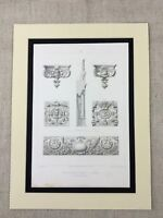 1857 Antique Architecture Print Middle Temple London Architectural Ornament