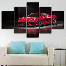 Chevy Corvette Stingray C8 2020 Car 5 Pieces Canvas Wall Art Poster Print Decor