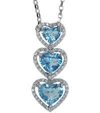 Blue Topaz Gemstone Heart & Diamond Journey Design 18ct White Gold Necklace