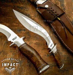 IMPACT CUTLERY RARE CUSTOM D2 KHUKRI KUKRI BOWIE KNIFE BURL WOOD HANDLE