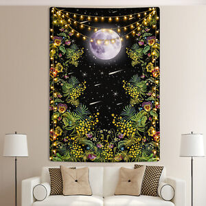 Moon Flower Wall Tapestry Bedspread Wall Hanging Trippy Tapestry Bedroom Decor