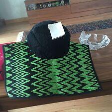 MISSONI RUNWAY ORANGE LABEL BLACK GREEN SQUARE BRIM SPRING SUMMER HAT BNWT $285