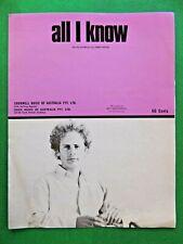 ALL I KNOW rare vintage 1973 Australian sheet music recorded by ART GARFUNKEL