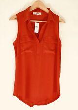 NWT Ann Taylor LOFT Orange/Red Mixed Media Sleeveless Top_Size S