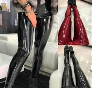 New Womens Shiny Pants PU Leather High Waist Skinny Leggings Casual Trousers