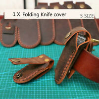 DIY Handmade Cowhide Leather Belt Folding Knife Pouch Cover Holder Fixed Blade