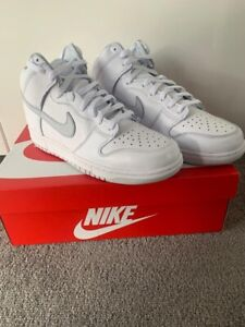 Nike Dunk High SB Pure White and Pure Platinum - UK9.5