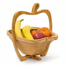 2 in 1 Pieghevole Apple a Forma di Bambù Cesto Di Frutta Ciotola per taglio bordo Coaster
