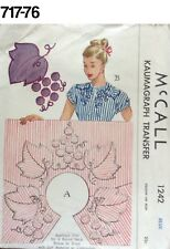 VTG Sewing Pattern McCall #1242 Blue Kaumagraph Transfer 1940s + Pillowcase TRNS