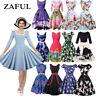 Plus Size Women's Vintage 1950's Style Rockabilly Casual Flare Prom Swing Dress