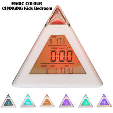 MAGIC COLOUR CHANGING Kids Bedroom Bedside Night Light Clockft Children P1 UK