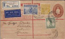 1936 AUSTRALIA - 5d. brown Registered Air Mail Letter direct to Greece, mixed