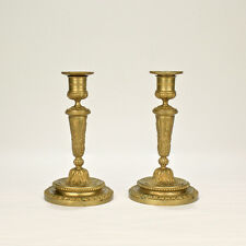 Pair of Old or Antique French Gilt Bronze Louis Seize Style Candlesticks - BR