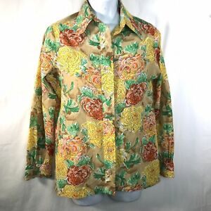 Vintage 70s VERA NEUMANN Bright Floral Long Sleeve Blouse Sz 10 Pointed Collar