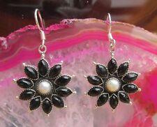 Ohrring Stern Blume Perle u Onyx schwarz Stein des Steinbock Sterling Silber 925