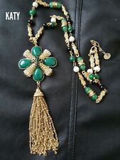 Luxury Diamante Pearls Beads Cross Gold Long Necklaces Tassel Chain Green Stones