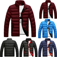 Winter Men Warm Quilted Cotton Down Padded Bubble Puffer Jacket Ski Coat Parka