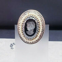 Vintage Glass Cameo with Faux Pearls Pin Brooch in Silver Tone
