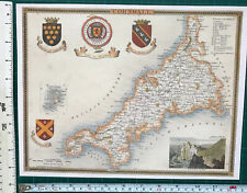 "Old Antique colour map Cornwall, England: c1830's: Moule: 9 x 12."" Reprint"