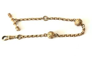 """Antique Victorian 1890's 9 ct gold plated albertina watch chain bracelet 7 1/4"""""""